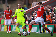 Charlton Athletic defender Marco Motta & Brighton striker Jiri Skalak compete for possession during the Sky Bet Championship match between Charlton Athletic and Brighton and Hove Albion at The Valley, London, England on 23 April 2016. Photo by Bennett Dean.