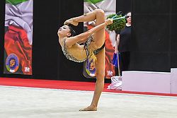July 28, 2018 - Chieti, Abruzzo, Italy - Rhythmic gymnast Milena Baldassarri of Italy performs her clubs routine during the Rhythmic Gymnastics pre World Championship Italy-Ukraine-Germany at Palatricalle on 29th of July 2018 in Chieti Italy. (Credit Image: © Franco Romano/NurPhoto via ZUMA Press)