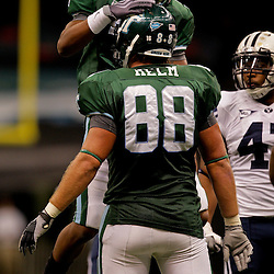 Sep 12, 2009; New Orleans, LA, USA; Tulane Green Wave wide receiver Ryan Grant (3) celebrates with teammate tight end Tyler Helm (88) after a first down reception against the BYU Cougars at the Louisiana Superdome.  BYU defeated Tulane 54-3. Mandatory Credit: Derick E. Hingle-US PRESSWIRE