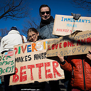 TOKYO, JAPAN - FEBRUARY 12 : American residents in Tokyo posed for photo with their placards during a protest against U.S. President Donald Trump's executive order, travel ban, banning travelers from seven predominantly Muslim countries from entering the United States, in Tokyo, Japan on Sunday, February 12, 2017. (Photo by Richard Atrero de Guzman/NUR Photo)