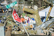 April 28, 2014 - Vilonia, Arkansas, U.S. -<br /> <br /> Killer Tornadoes Rip Through Arkansas And Oklahoma<br /> <br /> People search through tornado damage in the small town of Vilonia in central Arkansas' Faulkner county Monday morning after a tornado tore an 80-mile path from Ferndale to El Paso Arkansas Sunday night. Tornado season has gotten off to a deadly start as tornadoes ripped through south-central United States on Monday leaving whole neighbourhoods destroyed and at least 17 people killed in Arkansas. It's the year's worst tornado outbreak so far, with meteorologists listing 31 tornado reports on Sunday alone.<br /> ©Exclusivepix