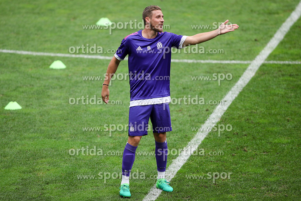 Gregory Sertic of Olympic Marseille during practice session 1 day before football match between NK Domzale and Olympique de Marseille in First game of UEFA Europa League playoff round, on August 16, 2017 in SRC Stozice, Ljubljana, Slovenia. Photo by Morgan Kristan / Sportida