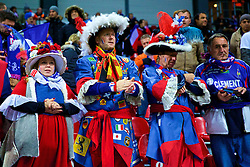 COPENHAGEN, DENMARK - Sunday, October 11, 2015: Dressed-up French fans during the friendly game of Denmark against France at Parken Stadium. (Pic by Lexie Lin/Propaganda)