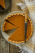 Photograph of Pumpkin Pie for the Little House Cookbook, food photography