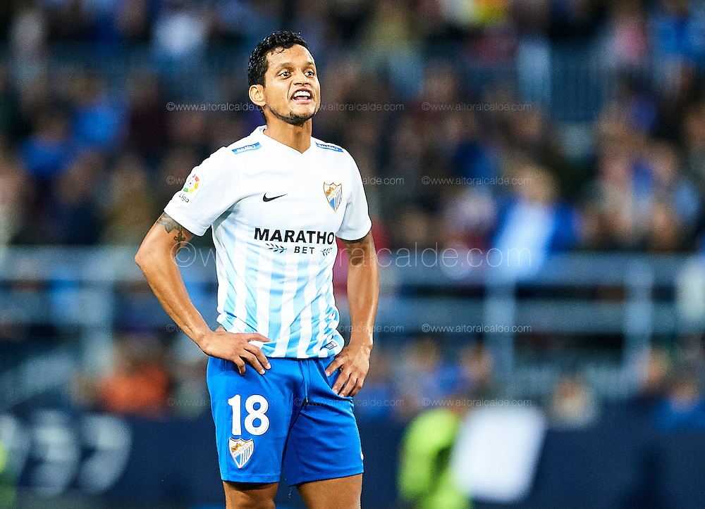 MALAGA, SPAIN - DECEMBER 09:  Roberto Rosales of Malaga CF reacts during La Liga match between Malaga CF and Granada CF at La Rosaleda Stadium December 9, 2016 in Malaga, Spain.  (Photo by Aitor Alcalde Colomer/Getty Images)