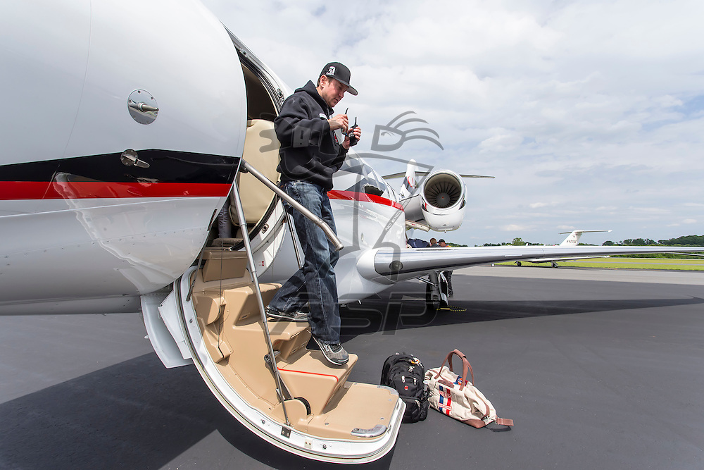 Concord, NC - May 17, 2014:  Kurt Busch (26) lands at Concord Regional Airport as he travels back from Indianapolis Motor Speedway to run the Sprint All Star race in Concord, NC. <br /> <br /> MANDATORY PHOTO CREDIT:  Walter G. Arce, Sr. KBI/ActionSportsInc.com