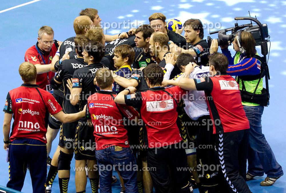 Players of RNL during Velux EHL Champions league 2010/2011 Group A men handball match between HC Celje Pivovarna Lasko of Slovenia and Rhein-Neckar Loewen of Germany, on October 2, 2010 in Arena Zlatorog, Celje, Slovenia. (Photo By Vid Ponikvar / Sportida.com)