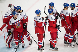 Petr Mrazek of Czech Republic, Robin Hanzl of Czech Republic and other players of Czech republic celebrate after they won 5-1 during the 2017 IIHF Men's World Championship group B Ice hockey match between National Teams of Czech Republic and Slovenia, on May 12, 2017 in AccorHotels Arena in Paris, France. Photo by Vid Ponikvar / Sportida