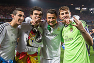 Portugal, Lisbon : Real Madrid's players Angel di Maria , Cristiano Ronaldo  Iker Casillas  celebrate their victory at the end of the UEFA Champions League Final Real Madrid vs Atletico de Madrid at Luz stadium in Lisbon, on May 24, 2014. Real Madrid won 4-1.<br /> PHOTO:GREG&Oacute;RIO CUNHA
