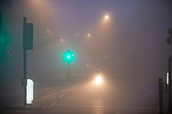 ©Licensed to London News Pictures 01/01/2020<br /> Orpington ,UK. A lone motorcyclists in the fog. New years day foggy weather in South East London this morning in Orpington a London borough of Bromley.Photo credit: Grant Falvey/LNP