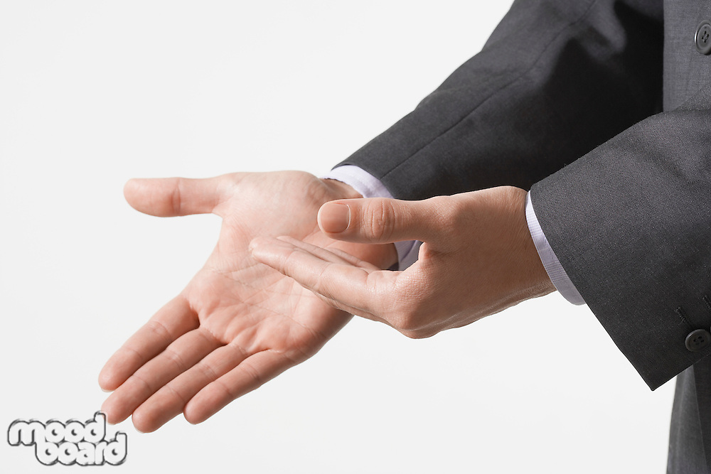 Businessman Making Hand Gestures close up of hands