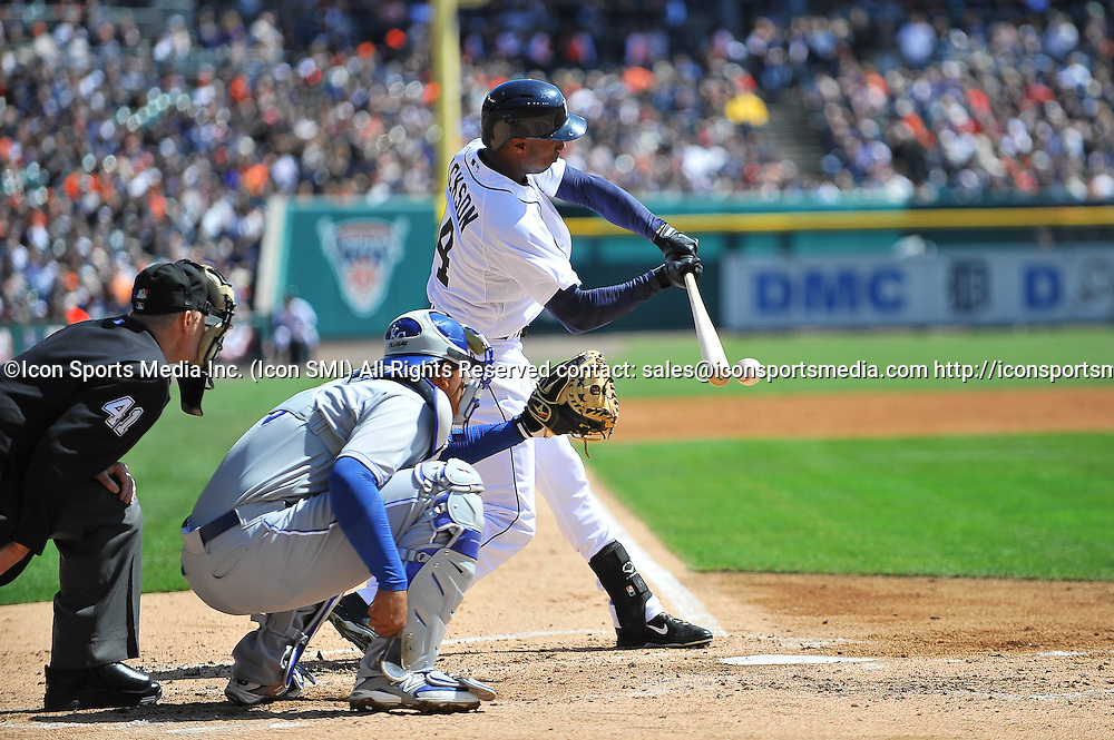 March 31, 2014 - Detroit, MI<br /> <br /> Detroit Tigers center fielder Austin Jackson (14) grounds this fasball during the game on Monday afternoon, Opening Day, Comerica Park, Detroit, Michigan.<br /> <br /> Kansas City Royals at Detroit Tigers