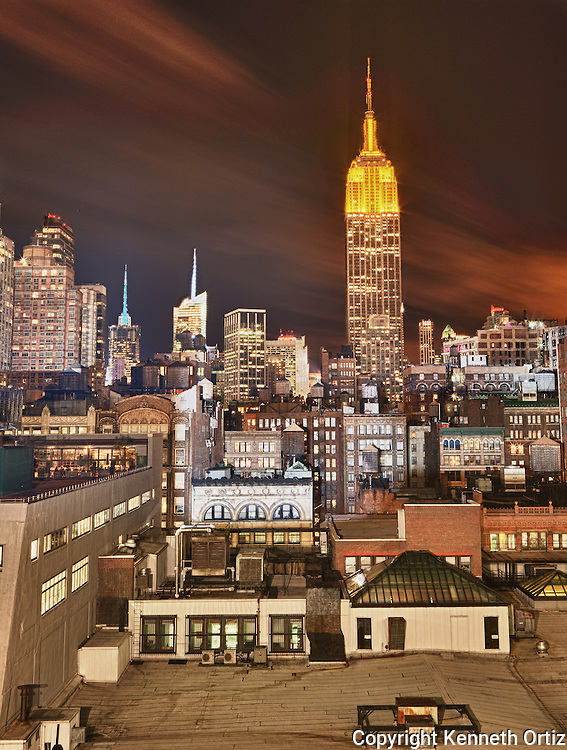 A view of the Empire State building from a roof top on 21st Street and 5th Avenue.