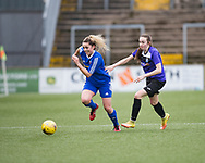 Farmington's Megan McCarthy races past East Fife's Lauren Wheatley in her side's 4-1 win - Forfar Farmington v East Fife in the Scottish Womens' Premier League 2 at Station Park in  Forfar : Image &copy; David Young<br /> <br />  - &copy; David Young - www.davidyoungphoto.co.uk - email: davidyoungphoto@gmail.com