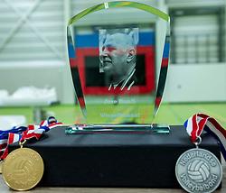 28-04-2018 NED: NK Zitvolleybal, Koog aan de Zaan<br /> BVC Holyoke wint de finale van het NK zitvolleybal met 3-1 van V.a.s. F.D.S uit Sneek. / Joze Banfi Award, trophy, wisseltroffee