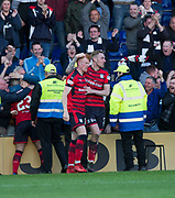 8th May 2018, Global Energy Stadium, Dingwall, Scotland; Scottish Premiership football, Ross County versus Dundee; Simon Murray of Dundee is congratulated after scoring Kevin Holt