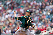 Jesse Chavez #60 of the Oakland Athletics pitched 7 innings giving up just one run against the Minnesota Twins on April 9, 2014 at Target Field in Minneapolis, Minnesota.  The Athletics defeated the Twins 7 to 4.  Photo by Ben Krause