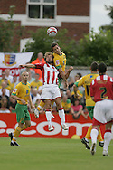 London - Saturday August 15th, 2009: Adam Drury (R) of Norwich City in action against Marcus Stewart of Exeter City during the Coca Cola League One match at St James Park, Exeter. (Pic by Mark Chapman/Focus Images)