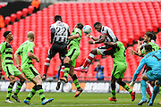 Grimsby Town's Omar Bogle heads home his teams first goal during the Conference Premier Final match between Forest Green Rovers and Grimsby Town FC at Wembley Stadium, London, England on 15 May 2016. Photo by Shane Healey.