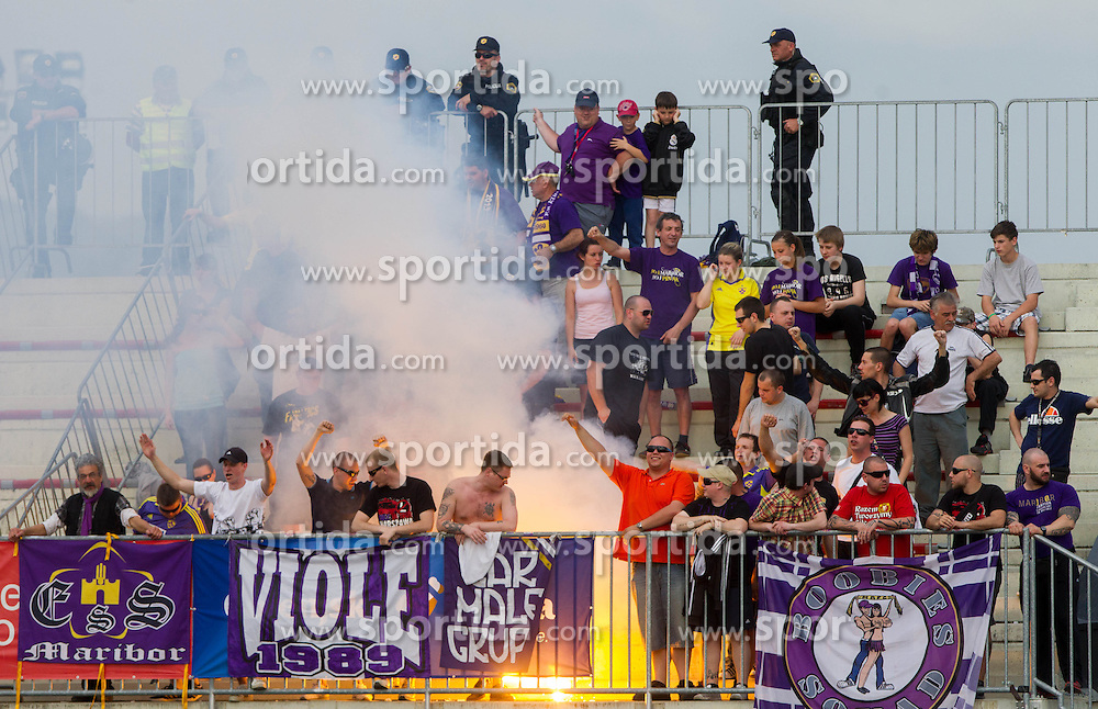 Viole, fans of Maribor during football match between NK Triglav and NK Maribor in 1st leg of semifinal of Slovenian Cup 2012/2013, on May 1, 2013, in Sports park, Kranj, Slovenia. (Photo By Vid Ponikvar / Sportida.com)