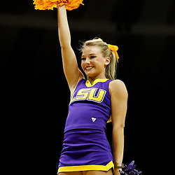 November 12, 2011; Baton Rouge, LA; A LSU Tigers cheerleader perfroms during the first half of a game against the Nicholls State Colonels at the Pete Maravich Assembly Center.  Mandatory Credit: Derick E. Hingle-US PRESSWIRE