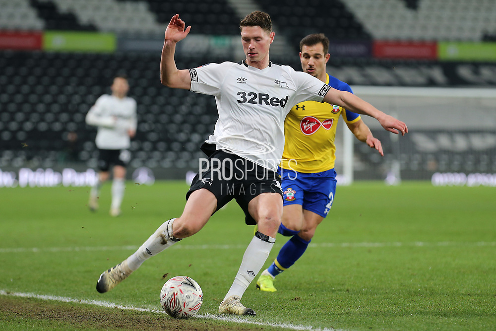 Derby County midfielder George Evans strikes the ball during the The FA Cup 3rd round match between Derby County and Southampton at the Pride Park, Derby, England on 5 January 2019.