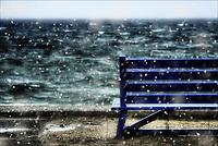 Blue bench - Plymouth town beach Plymouth, Massachusetts.