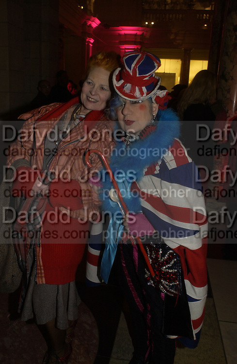 "Anna Piaggi and Vivienne Westwood. The private views for Anna Piaggi's exhibition ""Fashion-ology"" and also 'Popaganda: the life and style of JC de Castelbajacat' the Victoria & Albert Museum on January 31  2006. © Copyright Photograph by Dafydd Jones 66 Stockwell Park Rd. London SW9 0DA Tel 020 7733 0108 www.dafjones.com"