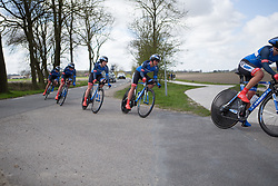 Team WNT riders tackle a sharp corner during Stage 2 of the Healthy Ageing Tour - a 19.6 km team time trial, starting and finishing in Baflo on April 6, 2017, in Groeningen, Netherlands.