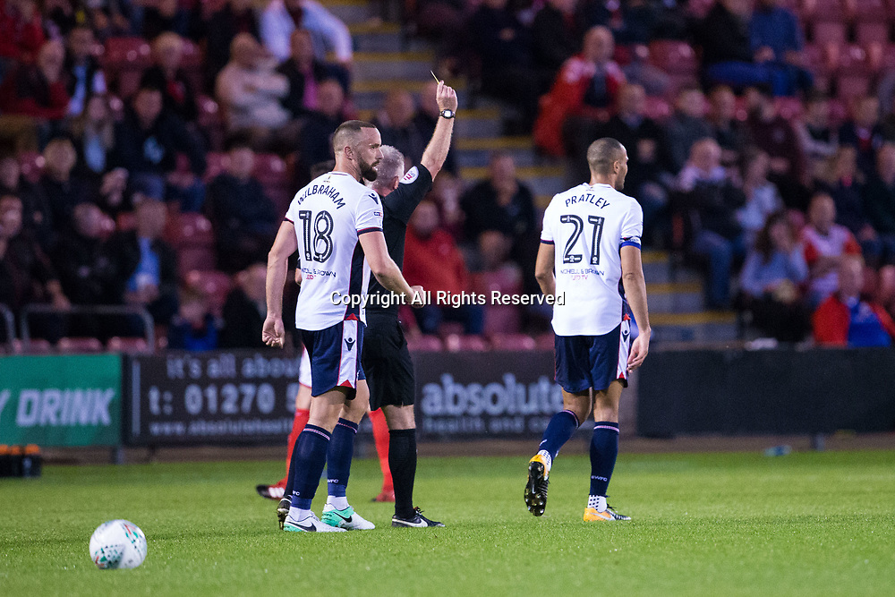 August 9th 2017, Gresty Road, Crewe, England; Carabao Cup First Round; Crewe Alexandra versus Bolton; Bolton Wanderers' Darren Pratley receives a yellow card