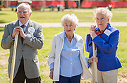 Arthur Stimson '38, Majorie Porter '39 and Grace Wise '39 during a groundbreaking ceremony at Lamar High School, March 30, 2017.