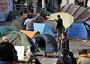 © Licensed to London News Pictures. 23/02/2012, London, UK. Protesters start to pack up at the Occupy London Stock Exchange site in front of St Paul's Cathedral on February 23rd 2012. Protesters at the site have been refused permission to appeal against their eviction from the Occupy London camp.. Photo credit : Stephen Simpson/LNP
