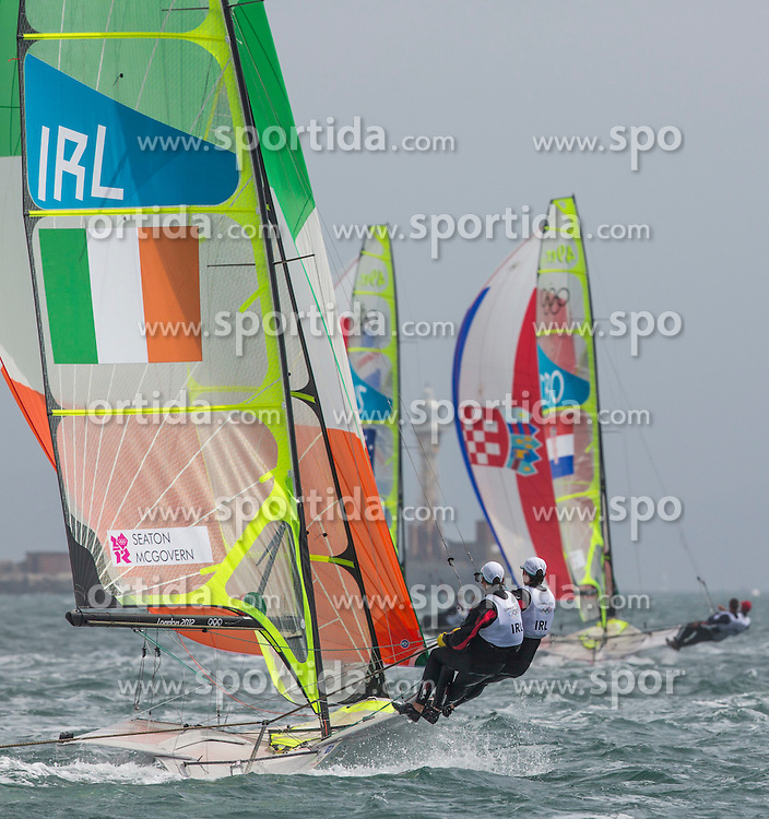 Seaton Ryan (49er IRL), Mcgovern matthew (49er IRL) during Sailing, at the 2012 Summer Olympics at Bay of Weymouth, United Kingdom on 2012/07/31. EXPA Pictures © 2012, PhotoCredit: EXPA/ Daniel Forster ***** ATTENTION for AUT, CRO, GER, FIN, NOR, NED, POL, SLO and SWE ONLY!