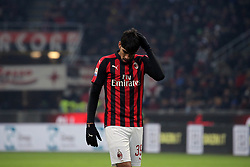January 26, 2019 - Milan, Milan, Italy - Lucas Paqueta' #39 of AC Milan reacts to a missed chance during the serie A match between AC Milan and SSC Napoli at Stadio Giuseppe Meazza on January 26, 2018 in Milan, Italy. (Credit Image: © Giuseppe Cottini/NurPhoto via ZUMA Press)