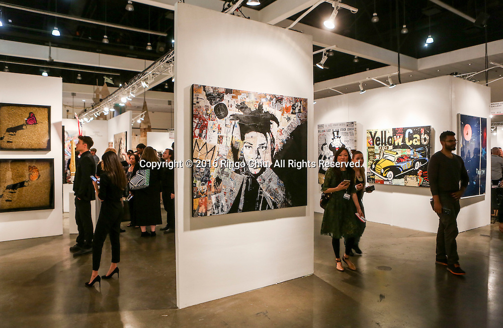 Art show goers attend in the 21st Anniversary LA Art Show and Los Angeles Fine Art Show on Wednesday January 27, 2016 in Los Angeles Convention Center, Los Angeles, California. The Show will continue through Sunday, with more than 90 galleries representing 15 countries. (Photo by Ringo Chiu/PHOTOFORMULA.com)<br /> <br /> Usage Notes: This content is intended for editorial use only. For other uses, additional clearances may be required.