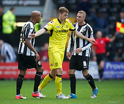 NOTTINGHAM, ENGLAND - Saturday, October 6, 2012: Tranmere Rovers' Ash Taylor in action against Notts County's Jordan Stewart and Gary Liddle during the Football League One match at Meadow Lane. (Pic by David Rawcliffe/Propaganda)