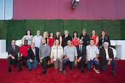 The entire collection of featured artists pose for a portrait during the Levi's Stadium Art Collection grand opening event at Levi's Stadium in Santa Clara, California, on August 1, 2014. (Stan Olszewski/SOSKIphoto for Content Magazine)