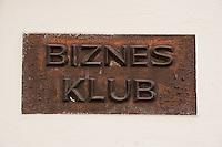 Business club sign in Kazimierz Krakow Poland