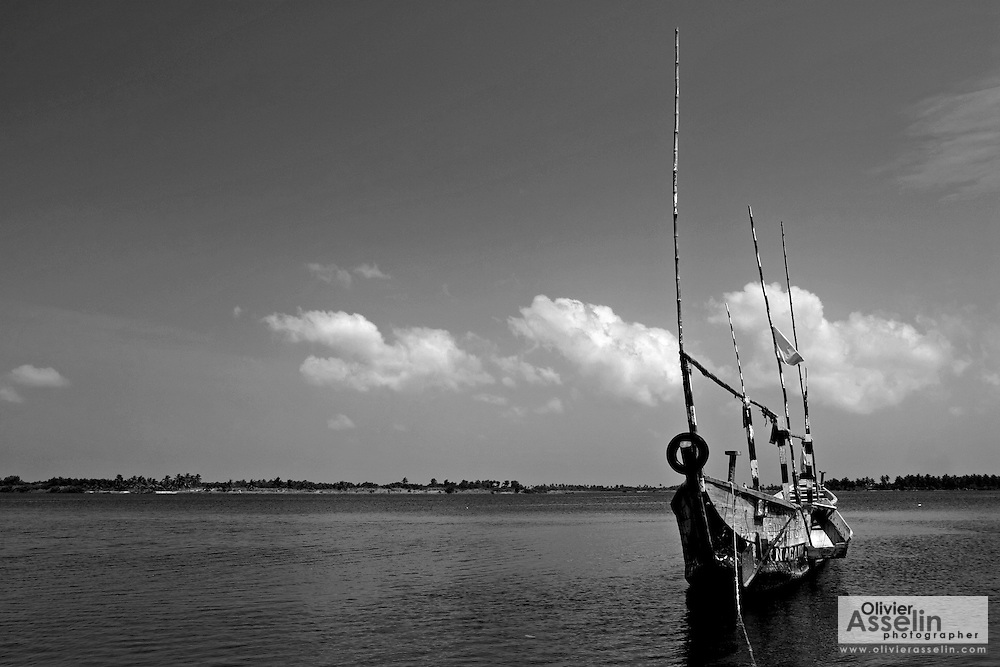 Fishing boat on Volta river near Ada, Ghana.