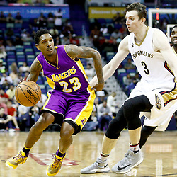 Nov 29, 2016; New Orleans, LA, USA; Los Angeles Lakers guard Louis Williams (23) drives past New Orleans Pelicans center Omer Asik (3) during the first quarter of a game at the Smoothie King Center. Mandatory Credit: Derick E. Hingle-USA TODAY Sports