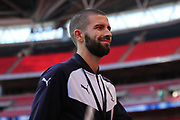 AFC Wimbledon defender George Francomb (7) smiling during the The FA Cup 3rd round match between Tottenham Hotspur and AFC Wimbledon at Wembley Stadium, London, England on 7 January 2018. Photo by Matthew Redman.