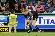 Johnny McNicholl of the BNZ Crusaders fumbles a catch near the try line during the Canterbury Crusaders v the Western Force Super Rugby Match. Nib Stadium, Perth, Western Australia, 8th April 2016. Copyright Image: Daniel Carson / www.photosport.nz