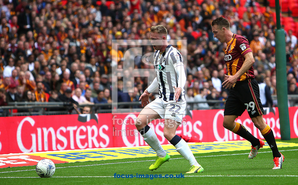 Millwall forward Aiden O'Brien battles with Bradford City's Tony McMahon during the Sky Bet League 1 play-off final at Wembley Stadium, London<br /> Picture by Glenn Sparkes/Focus Images Ltd 07939664067<br /> 20/05/2017