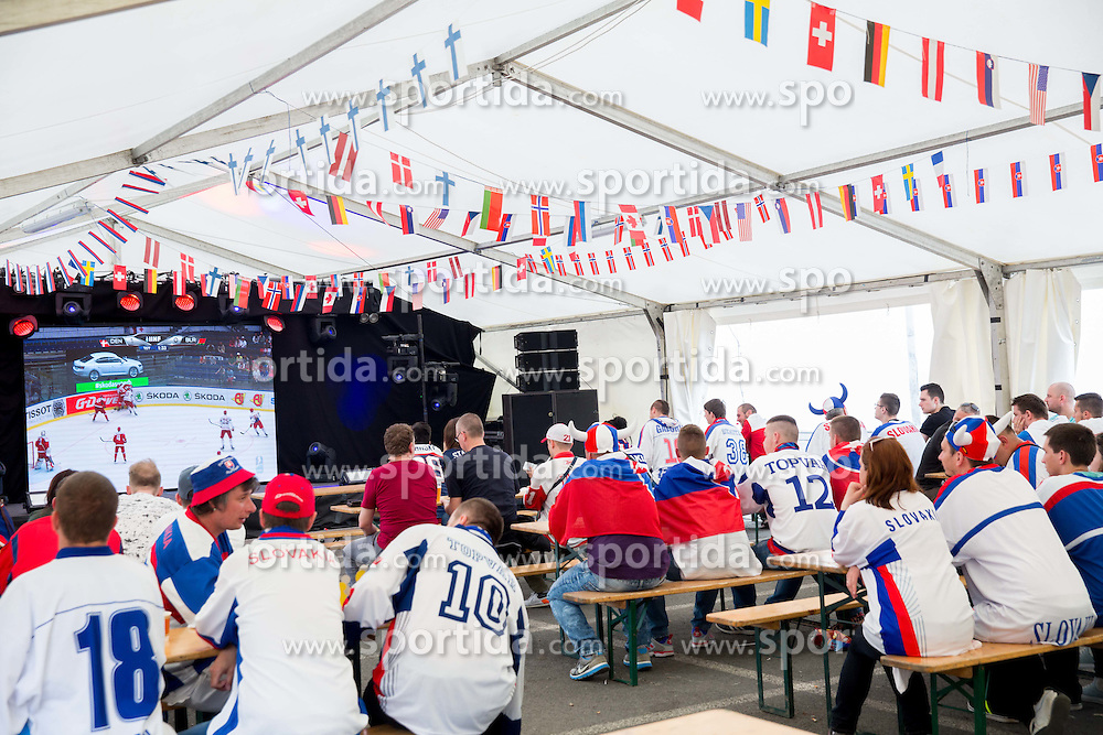 Slovakian fans in fan zone prior to the Ice Hockey match between Slovakia and Slovenia at Day 5 in Group B of 2015 IIHF World Championship, on May 5, 2015 in CEZ Arena, Ostrava, Czech Republic. Photo by Vid Ponikvar / Sportida