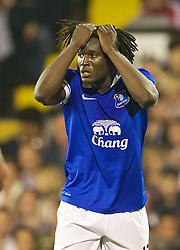 LONDON, ENGLAND - Tuesday, September 24, 2013: Everton's Romelu Lukaku looks dejected after missing a chance against Fulham during the Football League Cup 3rd Round match at Craven Cottage. (Pic by David Rawcliffe/Propaganda)