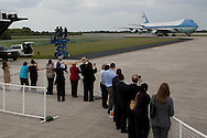 CAPE CANAVERAL, FL -  APRIL 15:  Air Force One taxis after landing at the shuttle landing facility at Kennedy Space Center April 15, 2010 in Cape Canaveral. Obama was holding a summit to discuss the future of the space program. (Photo by Matt Stroshane/Getty Images)
