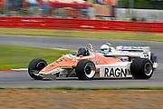 Car No 32 heads around Luffield. Silverstone Classic - 66-85 F1- 25/7/10.