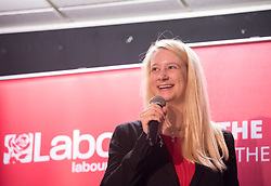 © Licensed to London News Pictures. 02/11/2019. Bristol, UK.  Labour PPC for Filton and Bradley Stoke MHAIRI THRELFALL speaks at a campaign event attended by Labour Leader Jeremy Corbyn at the start of Labour's general election campaign in the South West of England at the BAWA Club for the seat of Filton and Bradley Stoke, a Conservative-held marginal seat. Labour are promising the biggest people-powered campaign the country has ever seen. Photo credit: Simon Chapman/LNP.