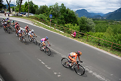 Race leader Megan Guarnier well protected by her Boels Dolmans teammates on the front at Giro Rosa 2016 - Stage 2. A 111.1 km road race from Tarcento to Montenars, Italy on July 3rd 2016.