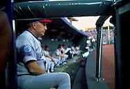 June 27th 1998 Kansas City, MO.Cubs pitching coach Phil Regan during an interleague game at Kauffman Stadium.. Photo by Chris Machian